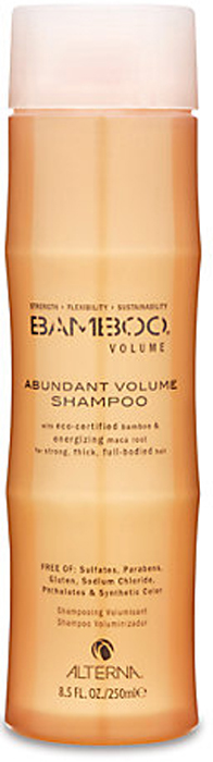 Alterna Шампунь для объема Bamboo Abundant Volume Shampoo - 250 мл45010Благодаря органическому экстракту корневищ перуанского женьшеня (перуанская мака), обладающего стимулирующими свойствами и богатым фито-питательными элементами, шампунь Alterna Bamboo Volume Abundant Volume Shampoo насыщает волосы жизненной силой и укрепляет их. Результат: Шампунь изнутри помогает увеличить объем волос по всем трем аспектам: полнота, толщина и прикорневой объем. Он деликатно очищает волосы и наполняет их жизненной энергией и силой, а также он обладает отличными увлажняющими свойствами и подойдет любому типу волос. Alterna Bamboo Volume Abundant Volume Shampoo наполнит ваши волосы невесомым увлажнением и необходимыми питательными элементами, что увеличит объем волос и придаст им ослепительный блеск. Ваши волосы будут выглядеть более здоровыми, пышными и объемными.