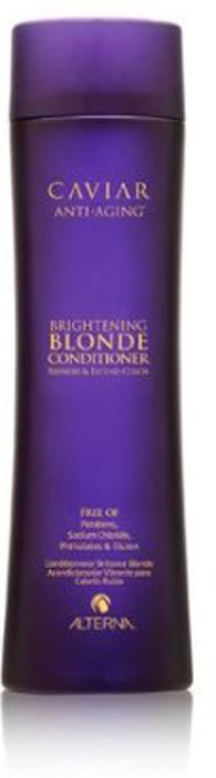 Alterna Кондиционер c морским шелком для светлых волос Caviar Anti-Aging Seasilk Blonde Conditioner - 250 мл60617Имеет легкую кремовую текстуру. Питает поврежденные волосы, выравнивает их структуру и облегчает расчесывание. Смягчает и наполняет живительной влагой истощенные волосы, делая их послушными и легкими в укладке. Нейтрализует желтизну и придает обесцвеченным светлым волосам сияющий блеск. Усиливает оптические проявления глубины тона, придавая волосам эффект свечения. Защищает волосы от вредного воздействия UV-лучей и обеспечивает их термозащиту и сохраняет цвет. Подходит как натуральным, так и окрашенным волосам.Результат: После применения кондиционера волосы становятся эластичными и шелковистыми, они легко расчесываются и блестят.