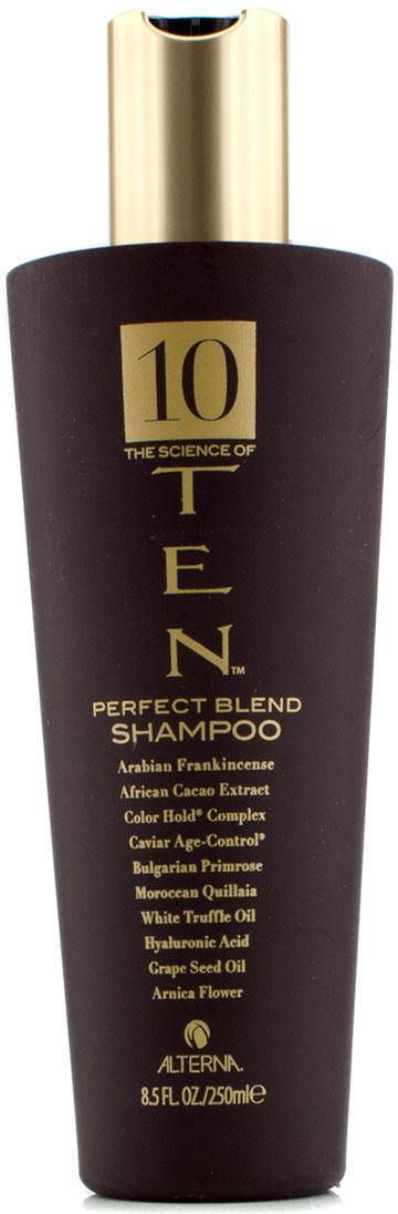 Alterna Шампунь Совершенная формула Luxury Ten The Science of Ten Shampoo - 250 мл48558Шампунь Alterna 10 The Science of Ten Shampoo защищает волосы от ломкости (масло белых трюфелей), сохраняет яркость волос (фитоинзимный комплекс), питает, увлажняет (экстракт цветка арники), защищает от вредного воздействия окружающей среды, приостанавливает процесс старения. И все это благодаря 10 активным ингредиентам, входящих в состав шампуня. Результат: После применения шампуня 10 The Science of Ten Shampoo ваши волосы становятся гладкими и здоровыми.