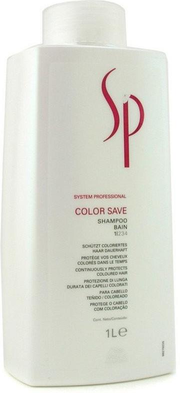 Wella SP Шампунь для окрашенных волос Color Save Shampoo, 1000 мл81223290Шампунь для нормальных окрашенных волос Wella SP Color Save Shampoo деликатно заботиться об интенсивности цвета ваших локонов. Средство придает волосам особый эксклюзивный блеск и подчеркивает их тон. Также шампунь от Велла проникает глубоко в структуру волоса и укрепляет ее.