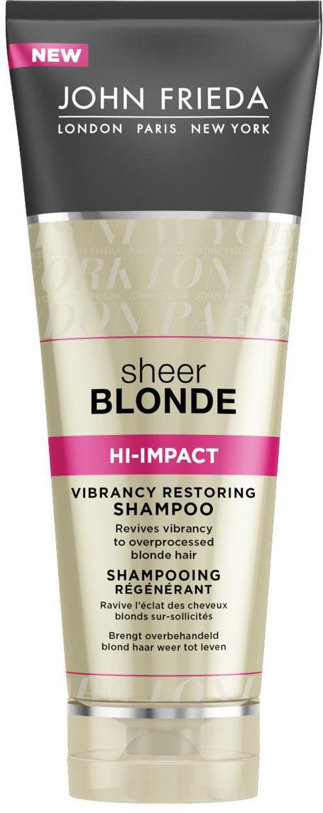 John Frieda Восстанавливающий шампунь для сильно поврежденных волос Sheer Blonde HI-IMPACT 250 млOT.93Возвращает жизненную силу сильно осветленным и поврежденным волосам. Оживляет поврежденные окрашиванием и укладкой светлые волосы. Восстанавливающий шампунь интенсивного действия для осветленных и поврежденных волос обновляет структуру волос, возвращает им здоровый вид и яркий оттенок. Омолаживает и реставрирует истонченные участки поврежденных волос.