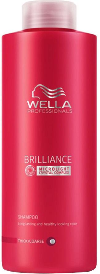 Wella Шампунь Brilliance Line для окрашенных жестких волос, 1000 мл117771Для придания мягкости и сияющего блеска окрашенным жестким волосам, а также для защиты цвета от вымывания используйте Шампунь Wella линии Brilliance Professionals для окрашенных жестких волос.Средство имеет в своем составе бриллиантовую пыльцу, которая придает волосам мягкость и шелковистость. Благодаря уникальной формуле, надолго сохраняется стойкость цвета. За счет воздушной кремовой текстуры шампунь легко распределяется по волосам, обволакивает и защищает каждый волос, делает их более гладкими и мягкими.Результат использования: шампунь придает вашим локонам мягкость и сияющую яркость цвета, делает их более блестящими и послушными.