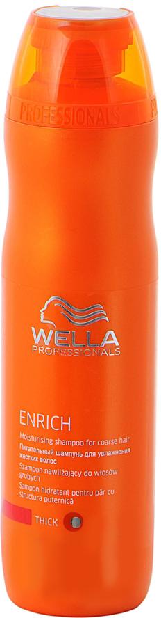 Wella Питательный шампунь Enrich Line для увлажнения жестких волос, 250 мл116392Для увлажнения жестких волос отлично подходит питательный шампунь от Wella. Он, обладая превосходными очищающими свойствами, интенсивно увлажняет волосы, питает их. Средство наполняет волосы силой, делает их здоровыми, упругими. Благодаря использованию этого шампуня, волосы насыщаются питательными элементами, витаминами. Кроме того, препарат обеспечивает вашим локонам надежную защиту от негативного влияния внешней среды.Как результат, даже волосы становятся блестящими и мягкими.В состав средства входят глиоксиловая кислота, эксклюзивная салонная формула, витамин Е, экстракт шелка и пантенол.
