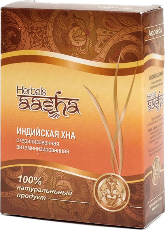 Aasha Herbals Хна для волос стерилизованная витаминизированная, 80 г краска для волос на основе хны lady henna aasha цвет каштановый ааша