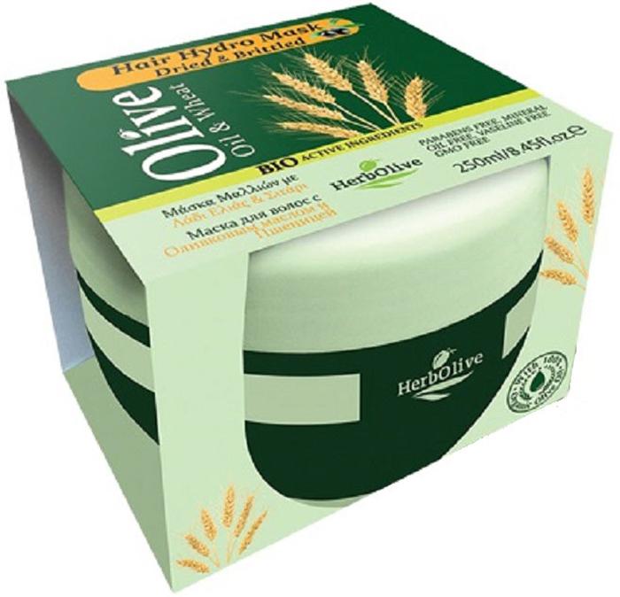 HerbOlive Маска для волос с пшеницей для сухих волос увлажнение и питание 250 мл