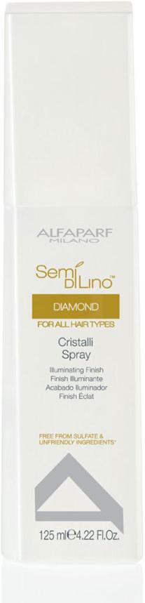 Alfaparf Масло-спрей для посеченных кончиков волос Semi Di Lino Diamond Cristalli Spray 125 мл10004Alfaparf Semi DiLino Diamond Cristalli Spray Масло-спрей для посечённых кончиков волос устраняет проблему секущихся кончиков волос, благодаря их эффективному увлажнению и созданию защиты от потери влаги. Уникальная формула средства Альфапарф SDL Diamond не только делает волосы здоровыми и блестящими, но и насыщает их всеми необходимыми витаминами, придаёт им неповторимый блеск и здоровый вид. После использования масла-спрея Alfaparf Milano волосы становятся эластичными, упругами, исчезает тусклый цвет. Результат становится заметным уже после нескольких использований данного продукта.Масло-спрей Alfaparf SDL Diamond позволяет забыть о проблеме секущихся кончиков волос. Тип волос: нормальные, сухие, окрашенные.