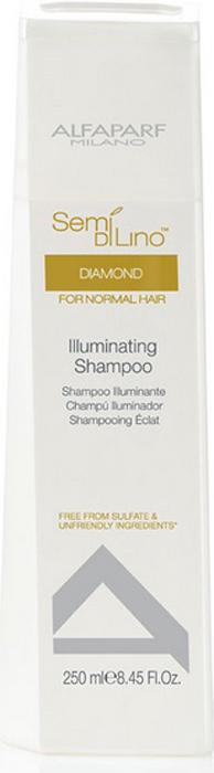 Alfaparf Шампунь для нормальных волос, придающий блеск Semi Di Lino Diamond Illuminating Shampoo 250 мл9992Alfaparf Semi DiLino Diamond Illuminating Shampoo Шампунь для нормальных волос, придающий блеск усиливает естественную защиту волос и придаёт им великолепный блеск. В состав шампуня Альфапарф SDL Diamond входит экстракт льна, благоприятно влияющий на здоровье волос и на кожу, специальный комплекс Color Fix, созданный для эффективного сохранения интенсивности цвета волос, а также микрокристаллы алмаза, благодаря которым волосы приобретают шелковистость и красивое сияние. Шампунь не только очищает волосы, но и делает их мягкими и послушными, облегчая расчёсывание и общий уход за волосами.Шампунь Alfaparf SDL Illuminating для нормальных волос наделяет волосы блеском и здоровьем и не содержит в составе сульфатов и парабенов. Подходит для типов волос: нормальных и окрашенных.