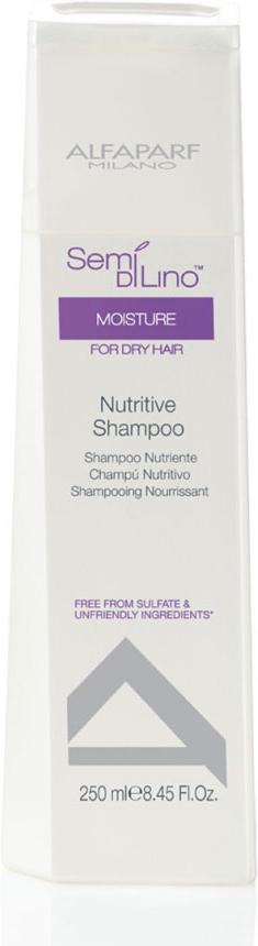 Alfaparf Шампунь для сухих волос Semi Di Lino Moisture Nutritive Shampoo 250 мл729841Alfaparf Semi DiLino Moisture Nutritive Shampoo Шампунь для сухих волос способствует увлажнению волос по всей длине, сохраняет интенсивность цвета волос, мягко очищает их. В состав шампуня Alfaparf входят такие компоненты, как экстракт овса, который стабилизирует липидные цепочки и надёжно защищает волосы от обезвоживания. Входящий в состав шампуня Альфапарф Semi Di Lino Moisture Nutritive экстракт мёда сохраняет влагу внутри волоса, а экстракт льна, обогащённый жирными кислотами Омега 3 и Омега 6 эффективно разглаживает волосы и придаёт им красивый блеск.С помощью производных кашемира стабилизируется протеиновый баланс волос, благодаря чему волосы становятся здоровыми и приобретают яркий и естественный цвет.