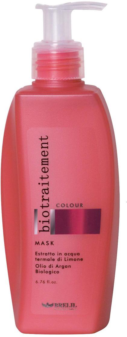Brelil Маска для окрашенных волос Bio Traitement Colour Mask, 200 мл80268Brelil Bio Traitement Colour Mask Маска для окрашенных волос обеспечивает интенсивное питание и увлажнение волос, способствует сохранению стойкости цвета. Маска создана на основе формулы с экстрактом лимона и биологического арганового масла на термальной воде. Благодаря аргановому маслу, которое является одним из самых ценных и дорогих масел в мире, волосы получают необходимые питательные компоненты, которые проникают в структуру каждого волосяного стержня для его укрепления и нормализации водного баланса. В результате этого волосы становятся сильными, гибкими и блестящими уже после нескольких применений средства. Маска Брелил Colour Mask насыщает волосы всеми необходимыми минералами, аминокислотами и витаминами. При регулярном применении маски волосы становятся необычайно послушными, мягкими и блестящими.Активные компоненты: термальная вода, аргановое масло, экстракт лимона, пантенол.
