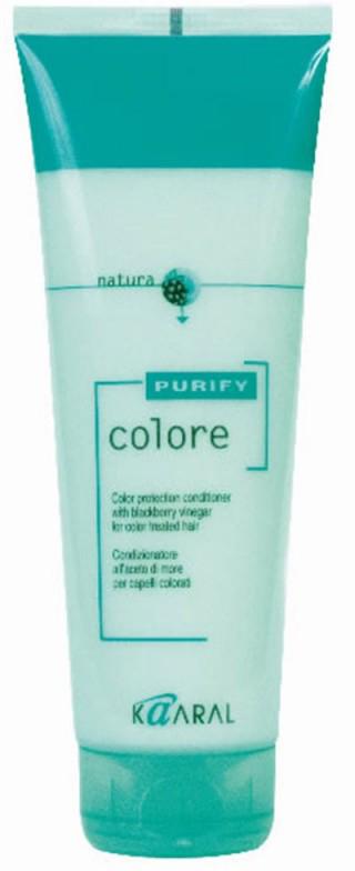 Kaaral Кондиционер для окрашенных волос Purify Colore Conditioner, 250 мл5421SPA – кондиционер для окрашенных волос на основе экстракта листьев и плодов ежевики идеально ухаживает за кутикулой волоса, предупреждая вымывание цветовых пигментов внутри волос. Делает волосы гибкими и эластичными. Максимально усиливает блеск и сияние окрашенных волос. Облегчает расчесывание и обеспечивает защиту волос от неблагоприятного воздействия окружающей среды. Обладает благоприятным ароматерапевтическим действием.