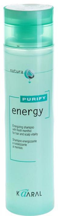 Kaaral Интенсивный энергетический шампунь с ментолом Purify Energy Shampoo, 250 мл110255852Тонизирующий шампунь с экстрактом мяты и ментола. Нейтральный уровень РН допускает ежедневное применение. Обладает благоприятным тонизирующим действием вечером, и бодрящим эффектом утром. Идеален для мужчин.