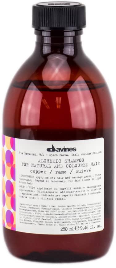 Davines Шампунь Алхимик для натуральных и окрашенных волос Alchemic Shampoo for natural and coloured hair, тон copper (медный), 280 мл67213Шампунь разработан для волос оттеночный. Он бережно очищает, питая волосы и усиливая их блеск и яркость. В состав средства входят витамины, ухаживающие компоненты и молочные протеины, которые увлажняют волосы, поддерживают их естественную красоту и здоровье. Эффективность шампуня усиливается при совместном использовании медного кондиционера «Алхимик» для окрашенных и натуральных волос.