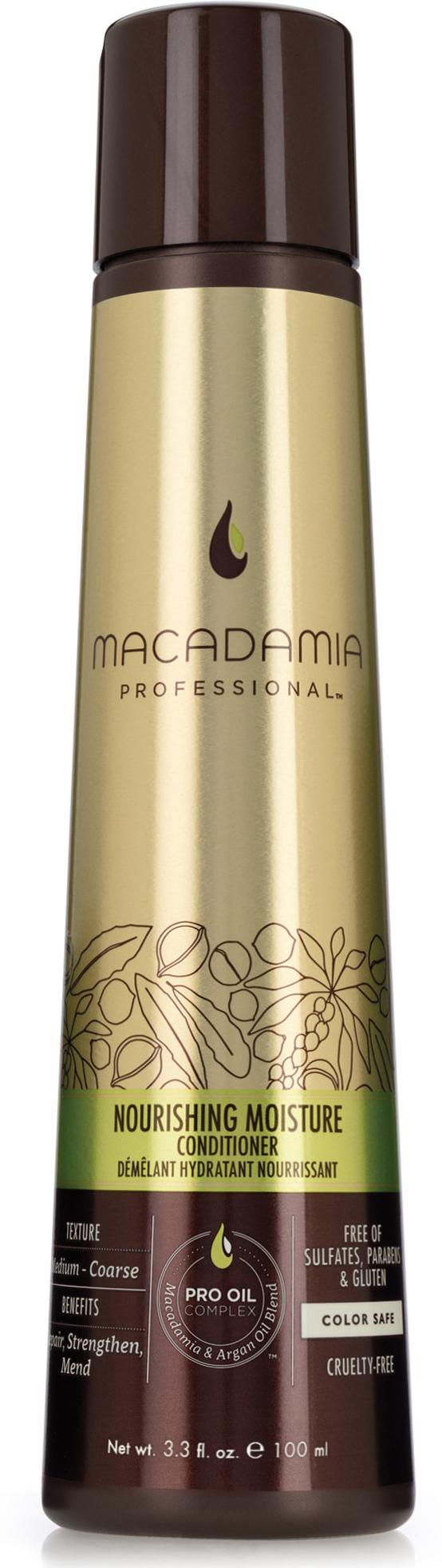 Macadamia Professional Кондиционер питательный для всех типов волос, 100 мл200201Роскошная формула кондиционера Macadamia Professional с эксклюзивным комплексом Pro Oil Complex с маслами макадамии и арганы, масла авокадо, лесного ореха способствуют глубокому восстановлению и увлажнению волос и кожи головы. Сочетание коллагена и аминокислот шелка укрепляют полотно волоса. Обеспечивает мягкость, блеск и защиту от негативного действия УФ-лучей.