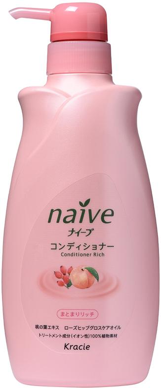 Kracie 71601 Naive Бальзам-ополаскиватель для сухих волос восстанав. «Naive - экстракт персика, 550 мл448333Мягкий бальзам-ополаскиватель обеспечивает волосы необходимыми питательными и увлажняющими веществами. Активные компоненты 100% растительного происхождения восстанавливают структуру волос, делая их шелковистыми и послушными. • Гликозилтрегалоза (увлажняющее вещество аминокислотной группы) в сочетании с растительными экстрактами глубоко увлажняет волосы, предотвращая ломкость и секущиеся кончики. • Экстракт из листьев и мякоти плодов персикового дерева питает волосы, защищает от пересушивания, увлажняет и смягчает кожу головы. • Масло шиповника делает волосы блестящими и гладкими