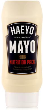TonyMoly Маска для волос Haeyo Mayo Hair Nutrition Pack, 250 млHR02005600Интенсивная питательная маска превращает тусклые, слабые волосы в шелковистые, эластичные и блестящие. Благодаря питательному комплексу волосы получают множество питательных веществ, помогающих укрепить их структуру и нейтрализовать действие свободных радикалов, провоцирующих старение волос. Маска выравнивает верхний слой каждого волоса, делая волосы гладкими и упругими, активно препятствует возникновению секущихся кончиков.