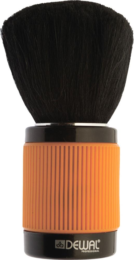 Dewal Кисть-сметка, настольная, с прорезиненной ручкой, натуральная овечья щетина, цвет: оранжевый фартук мастера dewal для стрижки и окрашивания нейлон черный со спинкой короткий 45х82см