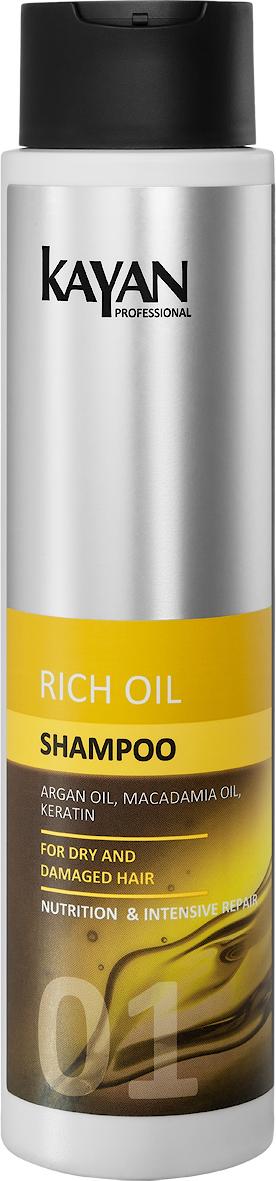 KAYAN Professional Шампунь RICH OIL, для сухих и поврежденных волос, 400 мл5906660407034идеальный уход за поврежденными волосами. Шампунь деликатно очищает волосы и кожу головы. Идеален в уходе за поврежденными волосами. Нормализует pH . Природные масла в составе защищают волосяной стержень от пересушивания и посеченности. Гладкие, блестящие волосы после мытья.Активные компоненты: масло арганы, масло макадамии, масло кокоса, масло оливы, креатинделикатно очищает волосы и кожу головынормализует pH, предупреждает появление перхотизащищает волосяной стержень от пересушивания и посеченности