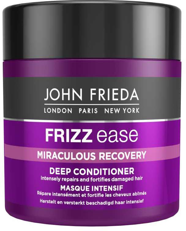 John Frieda Frizz Ease Miraculous Recovery Интенсивная маска для укрепления волос, 150 млjf111330Интенсивно восстанавливает и укрепляет поврежденные волосы. Заметно восстанавливает, придает силу пересушенным и поврежденным непослушным волосам, предотвращает их ломкость. Восстанавливающий аминокомплекс при регулярном использовании этой маски вернет вашим волосам мягкость и шелковистость, блеск и послушность локонов, придаст им здоровый и сияющий вид. Применение: Распределите маску по чистым влажным волосам, уделяя особое внимание кончикам. Оставьте на 3-5 минут, затем тщательно смойте. Характеристики:Объем: 150 мл. Производитель: Великобритания. Артикул: 1191302.Товар сертифицирован.