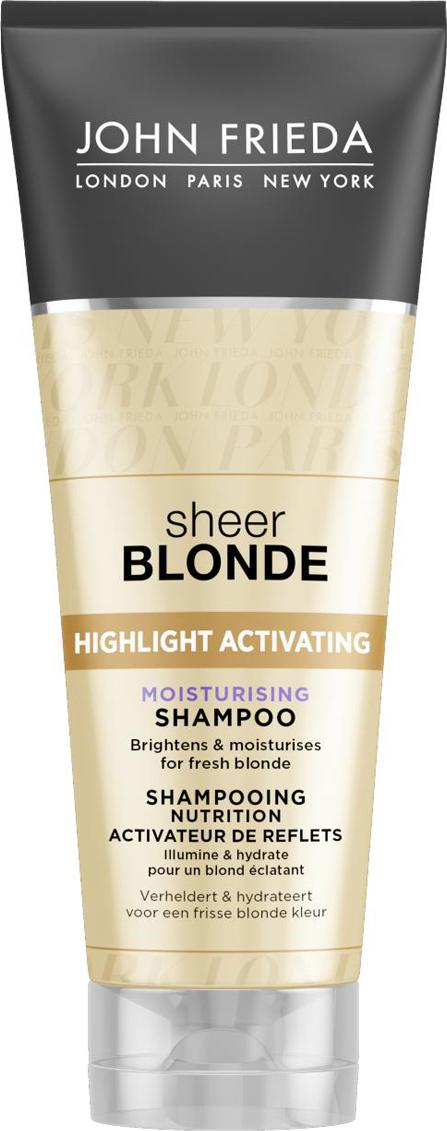John Frieda Увлажняющий активирующий шампунь для оттенков светлый блондин, 250 млjf212110Увлажняет и возвращает сияние светлым волосам. Увлажняет и придает сияние светлым волосам. Формула увлажняющего шампуня содержит экстракты подсолнечника и белого чая, усиливает сияние любого оттенка светлых волос. Применение: Нанесите на влажные волосы, вспеньте и тщательно смойте. Для наилучшего результата и увлажнения волос далее используйте увлажняющий активирующий шампунь для светлых волос Sheer Blonde.НЕ ОКРАШИВАЕТ ВОЛОСЫ *Безопасен для натуральных, окрашенных и мелированных волос. Характеристики:Объем: 250 мл. Производитель: Великобритания. Товар сертифицирован.