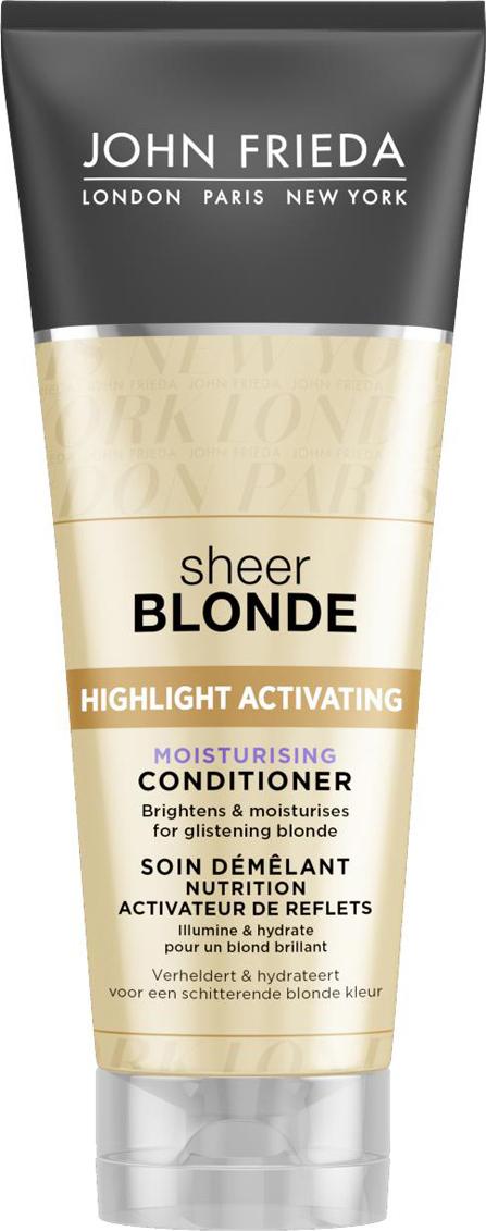 John Frieda Увлажняющий активирующий кондиционер для оттенков светлый блондин, 250 млjf212220Увлажняет и возвращает ослепительное сияние светлым волосам. Придает гладкость и увлажняет волосы, возвращая красоту и естественный блеск. Увлажняющая формула кондиционера интенсивно восстанавливает и разглаживает волосы, усиливает сияние любого оттенка светлых волос. Применение: Нанесите на влажные волосы, вспеньте и тщательно смойте. Для наилучшего результата и увлажнения волос далее используйте Увлажняющий активирующий шампунь для светлых волос Sheer Blonde.НЕ ОКРАШИВАЕТ ВОЛОСЫ *Безопасен для натуральных, окрашенных и мелированных волос. Характеристики:Объем: 250 мл. Производитель: Великобритания. Изготовитель: Германия. Артикул:1133910. Товар сертифицирован.