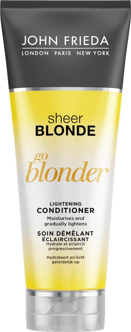 John Frieda Кондиционер осветляющий для натуральных, мелированных и окрашенных светлых волос, 250 млjf211220Увлажняет и постепенно создает эффект осветления. Увлажняет волосы, они становятся заметно светлее и ярче, усиливается естественный блеск светлых волос. Осветляющий кондиционер Go Blonder с цитрусом и ромашкой восстанавливает и увлажняет волосы, придает им мягкость и здоровый вид. Применение: Начните уход с использования шампуня Go Blonder, далее нанесите кондиционер на влажные волосы от корней до самых кончиков и затем тщательно смойте. Используйте ежедневного для достижения желаемого результата. Характеристики:Объем: 250 мл. Производитель: Великобритания. Артикул:1405304.Товар сертифицирован.