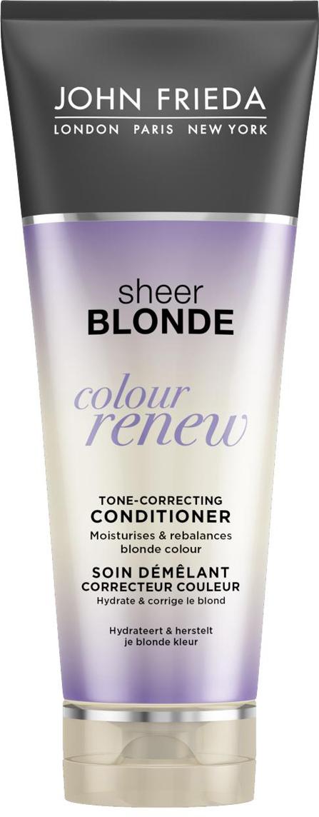 John Frieda Кондиционер Sheer Blonde для восстановления оттенка осветленных волос, 250 мл2273801Увлажняет и обновляет оттенок, освежает яркость и тон осветления. Избавляет от нежелательного желтого оттенка и при этом сохраняет эластичность и гладкость волос. Кондиционер Colour Renew увлажняет волосы, придает им мягкость и нейтрализует желтый и медный оттенки. Применение: Начните уход с использования шампуня Colour Renew, далее нанесите кондиционер на влажные волосы от корней до самых кончиков и затем тщательно смойте. Для наилучшего результата используйте серию до 3 раз в неделю.