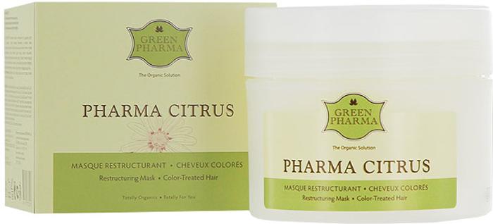 """Маска Greenpharma """"Pharma Citrus"""" восстанавливающая и питательная, для волос, подвергшихся окрашиванию или химической завивке, с растительными маслами и экстрактом грейпфрута, 250 мл, Green Pharma"""