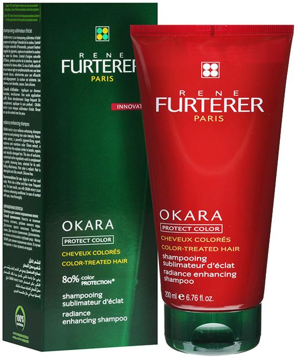 Rene Furterer Шампунь Okara для окрашенных волос, защитный, 200 мл3282779352383Шампунь деликатно очищает, восстанавливает и укрепляет поврежденные окрашиванием волосы. Удаляет остатки щелочи, связанные с процедурой окрашивания. Мягкая моющая основа предотвращает смывание цвета. Шампунь позволяет сохранить насыщенность цвета на долгое время. Облегчает расчесывание волос.Нанести шампунь на кожу головы и волосы, вспенить и смыть. Подходит для частого применения.