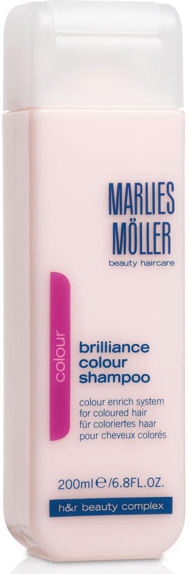 Marlies Moller Шампунь Brilliance Colour, для окрашенных волос, 200 мл7320Шампунь с очень мягкой нежной текстурой, с перламутрово-розовым сиянием для очищения волос и кожи головы. Сохраняет цвет на долгое время. Защищает волосы от повреждения УФ-лучами. Успокаивает кожу головы, усиливает корни волос, препятствует ослаблению седых волос. Премиальный уход с профессиональным эффектом. Высокая концентрация активных компонентов. Мягкое средство без силиконов, позволяет частое применение.В зависимости от длины волос возьмите небольшое количество шампуня (размером с 1-2 лесных ореха) и вспеньте его в ладонях. Легкими круговыми массажными движениями нанесите шампунь, расположив одну руку спереди, другую - на затылке. Повторите массажные движения столько раз, сколько Вам нравится. Тщательно ополосните голову.