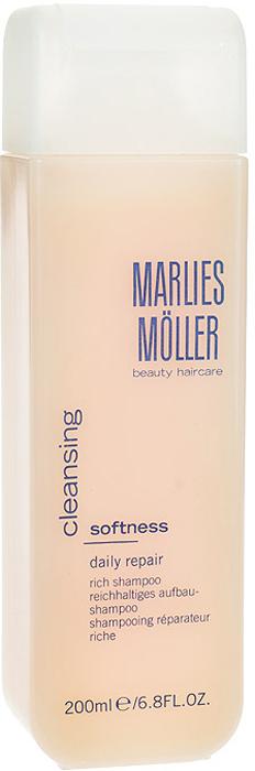 Marlies Moller Шампунь Softness, ежедневный, восстанавливающий, обогащенный, 200 мл шампунь marlies moller luxury vitality exquisite vitamin shampoo 200 мл