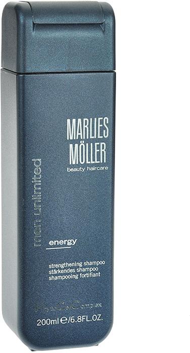 Marlies Moller Шампунь Men Unlimited для волос, укрепляющий, мужской, 200 мл25841MMsПрозрачный и очень мягкий шампунь обеспечивает глубокое очищение, увлажнение и укрепление волос благодаря высокотехнологичной комбинации ценных ингредиентов. Волосы выглядят естественно и приобретают здоровый блеск. Морской аромат даёт заряд свежести на весь день. Рекомендуется для ежедневного использования. Не содержит силиконы.В зависимости от длины волос возьмите небольшое количество шампуня (размером с 1-2 лесных ореха) и вспеньте его в ладонях. Легкими круговыми массажными движениями нанесите шампунь, расположив одну руку спереди, другую - на затылке. Повторите массажные движения столько раз, сколько Вам нравится. Тщательно ополосните голову.