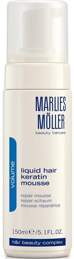 Marlies Moller Мусс Volume восстанавливающий структуру волос, 150 мл25MMsМусс делает тонкие волосы более плотными, на ощупь более густыми. Это средство можно назвать кератиновым ламинированием в домашних условиях. Жидкий кератин содержится в виде пены, восстанавливает кутикулу волос, замещает повреждения, обволакивает каждый отдельный волос. Делает волос более плотным. Придает ощутимый объем и силу. Дарит волосам блеск. Облегчает расчесывание. Создает основу для стайлинга. Уникальная формула не требует утюжков. Ремонтирует кутикулу, замещает повреждения. Волосы становятся более плотными, сильными, появляется ощущение густоты - объема.Возьмите небольшое количество средства в ладони. Нанесите на подсушенные полотенцем волосы. Затем, используйте фен для активации средства. Укладывайтесь как обычно.