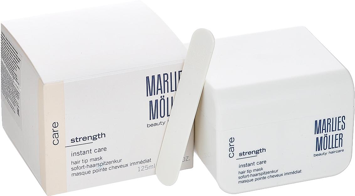 """Marlies Moller Маска Strength, мгновенного действия, для кончиков волос, 125 мл28MMsМаска рекомендуется для тонких и ослабленных волос. Все что не корни - кончики. При нанесении необходимо отступать 5 см от корней. Восстанавливает структуру волос. Придает им плотность, силу и объем. С помощью маски можно подчеркнуть укладку. Эту маску называют """"Маска на бегу"""". Здесь - несколько способов нанесения. Можно вечером нанести маску тонким слоем и оставить на всю ночь (не пачкает подушку). Можно утром нанесите небольшое количество маски на сухие волосы, дать впитаться (1-2 минуты). Если волосы вьются - сначала эффект мокрых волос, когда впитается - ухоженные кудри. Маска совершенно незаметна на волосах и будет весь день интенсивно ухаживать и защищать Ваши волосы. Можно нанести маску перед мытьем на сухие волосы: распределяется по всей длине волос, после 10 - 20 минут смыть шампунем. Премиальный уход с профессиональным эффектом. Высокая концентрация активных компонентов. Мягкое средств без силиконов, позволяет частое применение.Два способа применения. Наносится на сухие волосы на всю ночь или день. Наносится небольшое количество на сухие волосы, распределяется по всей длине волос, после 10 мин смывается шампунем."""
