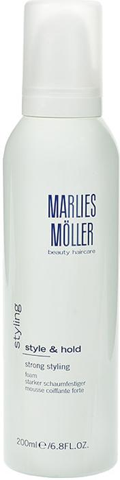 Marlies Moller Пена Styling для укладки волос, сильная фиксация, 200 мл9063167Кондиционирующая пена для укладки идеально подходит для любого типа волос. Гарантирует сильную фиксацию без склеивания. Увлажняет волосы, придает им блеск и объем. Легко удаляется при расчесывании, не остаётся на волосах. Не содержит алкоголь и смолы. Чтобы добиться исключительного объема волос, нанесите пену на корни волос и распределите по длине до кончиков. Сделайте укладку с помощью фена и профессиональных круглых щеток MARLIES M?LLER.Хорошо встряхните перед использованием. Держите флакон дозатором вниз. Нанесите на волосы, начиная от корней и заканчивая кончиками.