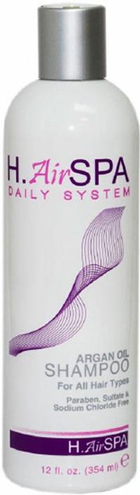 H.AirSPA Шампунь Argan Oil на масле арганы, 354 мл9034220ШампуньH.AirSPA Argan Oil без сульфатов создан для деликатного очищения. Содержит масло арганы, кератин и коллаген для максимального восстановления волос. Смягчает и увлажняет волосы и кожу головы. Подходит для всех типов волос. Характеристики:Объем: 354 мл. Артикул: HS82. Производитель: США. Товар сертифицирован.