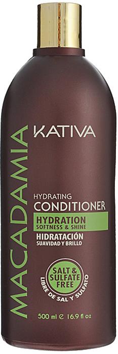 Kativa Интенсивно увлажняющий кондиционер для нормальных и поврежденных волос MACADAMIA, 500мл интенсивно увлажняющий кондиционер kativa для нормальных и поврежденных волос macadamia 1000мл