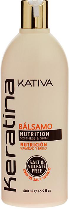 Kativa Укрепляющий бальзам-кондиционер с кератином для всех типов волос KERATINA, 500 мл65866212Укрепляющий бальзам-кондиционер превосходно восстанавливает природную упругость и поврежденных и чувствительных прочность волос, укрепляет их, придавая блеск и мягкость. Придает им игривый блеск, облегчает расчесывание и защищает от воздействия внешних факторов. Бальзам обогащен аргановым маслом и кератином. Не содержит сульфата. Способ применения: нанесите на чистые вымытые волосы только по длине, оставьте на 5 минут для воздействия, а затем тщательно смойте.Товар сертифицирован.
