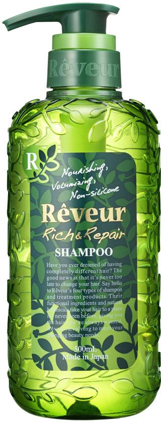 Reveur Шампунь для волос Питание и восстановление, 500 мл03203, 16051Reveur Питание и восстановление - безсиликоновый, создан на основе трех специальных природных компонентов: белка масла кукурузы, масла арганы, экстракта катрана, и четырнадцати растительных экстрактов, таких как: масло ши, масло макадами, масло оливы, масло шафрана, экстракт рисовых отрубей, масло подсолнечника, гидролизированный белок гороха, экстракт лимониума, экстракт свеклы, экстракт ромашки, экстракт яблока, экстракт амачя, экстракт шалфея, экстракт лемонграсса, питающих волосы и возвращающих им естественный и здоровый вид. Рекомендуется для: слабых волос, не держащих объем, волос, потерявших упругость и эластичность, не поддающихся укладке, сильно поврежденных волос, кудрявых волос, создания красивых локонов.Шампунь Reveur не содержит силикон.Имеет элегантный и теплый восточный аромат Oriental Floral.Рекомендуется использовать вместе с бальзамом-кондиционером Reveur Rich & Repair. Эффект заметен уже после третьего применения, так как шампуню необходимо вымыть весь скопившийся ранее силикон, чтобы раскрыть свои свойства. Товар сертифицирован.
