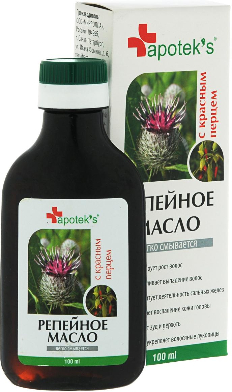 Мирролла Репейное масло «Apoteks» с красным перцем, 100 млSH-81321479Репейное масло – издавна почиталось на Руси, как надежное средство от выпадения волос и облысения. Масло содержит природный инулин, богатый комплекс витаминов, протеин, жирные кислоты, дубильные вещества и минеральные соли. Перец красный (жгучий) усиливает микроциркуляцию крови, способствуя быстрой доставке полезных компонентов репейника непосредственно к волосяным луковицам. - Усиливает кровообращение вокруг волосяных луковиц; - укрепляет корни волос; - стимулирует рост волос; - насыщает корни волос витаминами; - останавливает выпадение волос.