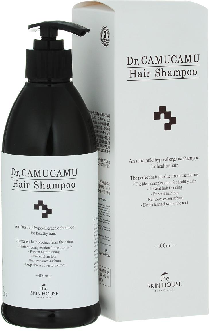 The Skin House Лечебный шампунь DR. Camucamu hair shampoo, 400 млУТ000001223Шампунь для волос эффективно борется с перхотью и оздоравливает скальп. Укрепляет и смягчает волосы, а так же успокаивает кожу головы. Содержит ферментированный экстракт рисовых отрубей, который является запатентованным компонентом TheSkinHouse. Этот экстракт увлажняет, очищает скальп от излишков себума и контролирует перхоть. Натуральный очиститель освежает кожу головы, а так же питает волосы от корней до самых кончиков, делая их красивыми и здоровыми. Содержит комплекс таких ингредиентов, как экстракты корня пиона, тигровой лилии, цветков лотоса, цветков жимолости японской, цветков хризантемы индийской, тыквы, листьев алоэ барбаденсис, ягод асаи и плодов мирциарии.