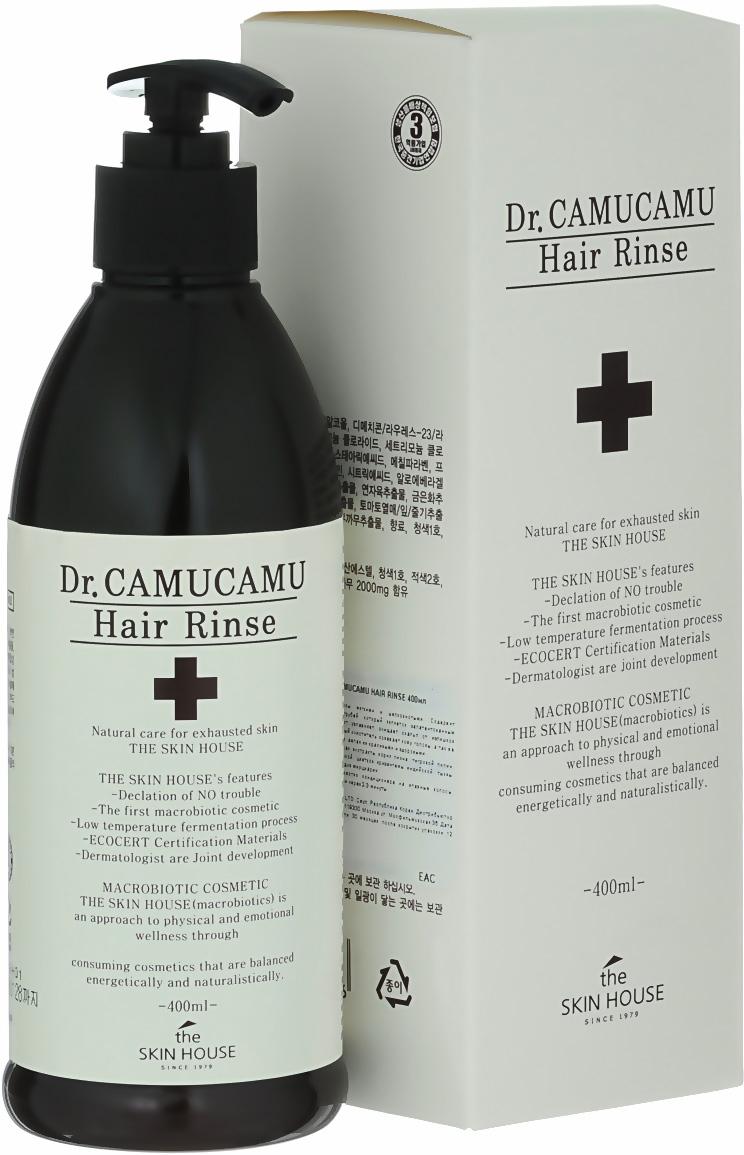 The Skin House Лечебный бальзам для волос DR. Camucamu hair rinse, 400 млУТ000001221Кондиционер для волос делает волосы мягкими и шелковистыми. Содержит ферментированный экстракт рисовых отрубей, который являетсязапатентованным компонентом TheSkinHouse. Этот экстракт увлажняет, очищает скальп от излишков себума и контролирует перхоть.Натуральный очиститель освежает кожу головы, а так же питает волосы от корней до самых кончиков, делая их красивыми и здоровыми. Содержит комплекс ингредиентов: экстракт корня пиона, тигровой лилии, цветков лотоса, цветков жимолости японской, цветков хризантемыиндийской, тыквы, листьев алоэ барбаденсис, ягод асаи и плодов мирциарии.