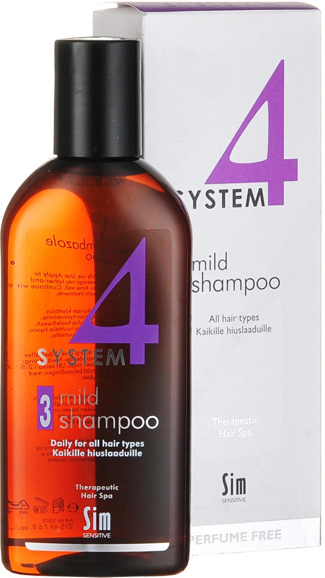 SIM SENSITIVE Терапевтический шампунь № 3 SYSTEM 4 Mild Climbazole Shampoo 3 , 215 мл5303КАК РАБОТАЕТ: шампунь рекомендуется для чувствительной кожи головы. Сали- циловая кислота мягко очищает, климбазол и пироктон оламин восстанавливают микрофлору кожи головы. Гидрогенол снимает раздражение, увлажняет и защищает волосы от воздействия уль- трафиолетовых лучей. Ментол и розмарин способствуют улучше- нию питания волосяного фолликула за счет своих стимулирующих и дезинфицирующих свойств. рН-4,7. Успокаивает кожу головы после окрашивания. БОРЕТСЯ С: раздражениемкожи головы и с элементами перхоти с чувствительностью кожи головы рецедивами после курса лечения волос и кожи головы