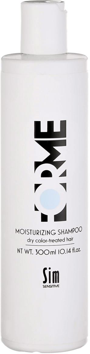 SIM SENSITIVE Шампунь увлажняющий для волос FORME Moisturizing Shampoo , 300мл5334Питательный шампунь Forme для сухих и окрашенных волос с экстрактом цветов красного клевера Moisturizing Shampoo Forme. Увлажняющий шампунь Forme Moisturizing глубоко питает кожу головы и повышает ее эластичность за счет натурального компонента - экстракта цветов красного клевера. При регулярном применении шампуня улучшается качество и рост волос. Волосы становятся шелковистыми и не электризуются. Экстракт цветка клевера оказывает успокаивающее действие, надолго восстанавливает водный баланс волос и кожи головы, придает легкость волосам, делает их послушными и убирает статическое электричество. Шампунь создает защитную пленку против вредного воздействия ультрафиолетовых лучей.Средства Forme Moiturizing глубоко питают и омолаживают кожу головы и волосы за счет экстракта цветов красного клевера в своем составе. Уходы Forme Moisturizing в особенности подходят для зрелой или поврежденной погодными условиями кожи головы и волос. Средства Forme Moisturizing стимулируют выработку собственного коллагена кожи головы, способствуют размягчению ороговевших участков кожи и глубоко увлажняют кожу и волосы.