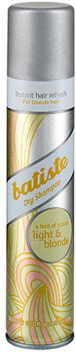 Batiste LIGHT Сухой шампунь Hint of colour 200 мл502382Batiste LIGHT сухой шампунь, который был разработан для обладательниц светлых или окрашенных в оттенки блонд волос. Его также, как и Batiste Original удобно использовать в дни между основным мытьем головы, помимо этого шампунь содержит небольшое количество желтого пигмента, который способен подстроиться под оттенок волос и замаскировать неокрашенные корни.Сухой шампунь быстро и эффективно очищает и освежает волосы.