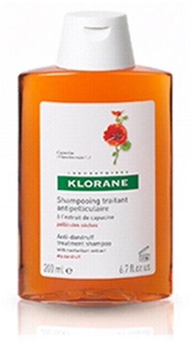 Klorane Шампунь Dandruff с Настурцией от сухой перхоти, 200 мл8906015080223Оказывает оздоравливающее действие на кожу головы. Эффективно устрянает сухую перхоть. Мягкая моющая основа облегчает расчесывание, придает волосам объем Оздоравливает кожу головы, эффективно удаляет перхоть