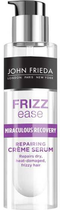 John Frieda Укрепляющая крем-сыворотка Miraculous recovery, 50 млQ3/300/MВосстанавливает сухие, ломкие и поврежденные волосы. Устраняет повреждение. Интенсивная сыворотка Miraculous Recovery активно борется с ломкостью, сухостью и проблемой секущихся волос, преображает непослушные, пересушенные и поврежденные постоянной укладкой волосы. Делает волосы послушными для желаемой укладки. Интенсивная укрепляющая формула борется с проблемой секущихся кончиков, укрепляет, восстанавливает сухие, поврежденные, уставшие от постоянных укладок волосы, делая их более послушными. Превращает непослушные волосы в великолепную укладку. Применение: Нанести на влажные или сухие волосы. Небольшое количество сыворотки (одно нажатие дозатора) разотрите между ладонями. Равномерно нанести на волосы, избегая области у корней. Используйте необходимое количество средства в зависимости от длины и густоты волос. Не требуется смывать водой.