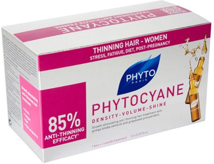Phytosolba Средство Phytocyane против выпадения волос 12 амп*7,5мл1685636/155679СТИКФитоциан объединил в себе преимущества укрепляющего ухода против выпадения волос и косметического средства, корректирующего признаки старения. Средство против выпадения волос у женщин с процианидолами винограда и гинкго билоба . Рекомендовано при реакционном диффузном выпадении волос у женщин (диета, стресс, роды, хирургическое вмешательство). Предупреждает выпадение и старение волос, ускоряет их рост. Производное тирозина предупреждает появление седины. Протеины шелка придают объем и блеск волосам. Это лечение и эстетика. Клинические испытания доказали эффективность против выпадения волос у 85% испытуемых, увеличение объема у 94%, волосы легче уложить у 97%, волосы сияющие и мягкие в 100% случаев. Результаты испытаний вынесены на упаковку.