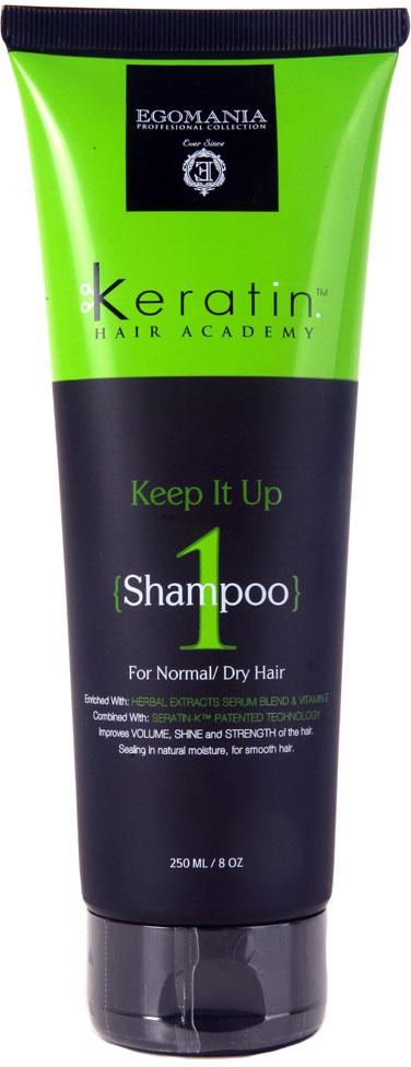 Egomania Professional Collection Шампунь Keratin Hair Academy Все под контролем! для нормальных и сухих волос 250 мл491601Шампунь для мягкого очищения волос, богатый маслами и активными компонентами, подходит для нормальных, поврежденных и истощенных волос. Шампунь подходит для волос комбинированного типа (сухих на концах, жирных у корней). Шампунь эффективно очищает волосы и кожу головы, растворяет силиконы за счет содержания в составе сока лимона