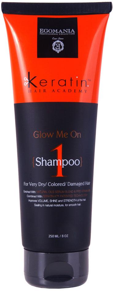 Egomania Professional Collection Шампунь Keratin Hair Academy Во всем блеске для очень сухих, окрашенных и поврежденных волос 250 мл491649Шампунь для мягкого очищения волос, богатый маслами и активными компонентами, подходит для сухих, окрашенных, поврежденных, истонченных и нормальных волос. Шампунь эффективно очищает волосы и кожу головы, растворяет силиконы за счет содержания в составе сока лимона.