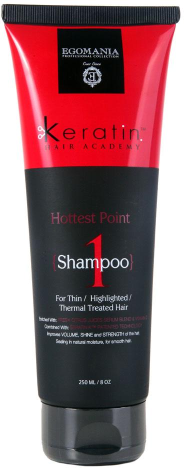 Egomania Professional Collection Шампунь Keratin Hair Academy  На пике красоты для тонких, мелированных, после химической завивки волос 250 мл491687Шампунь для глубокого очищения волос, богатый маслами и активными компонентами, подходит для жирных, окрашенных, мелированных, термически поврежденных волос. Оптимально использование шампуня для жирной кожи головы и структуры волос, также можно использовать как шампунь глубокой очистки для удаления продуктов стайлинга и силиконов.Шампунь эффективно очищает волосы и кожу головы, растворяет силиконы, благодаря уникальному составу, содержащему сок трех цитрусовых культур: cока грейпфрута, сока апельсина и сока лимона